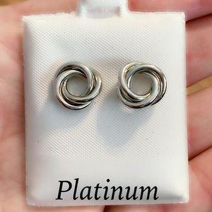 Solid Platinum Knot Stud Earrings ~Kay Jewelers
